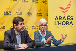 Muriel Casals, tota una vida de lluita 27/05/2015. Muriel Casals i Jordi Sànchez valorant els resultats de les eleccions municipals. Foto: Adrià Costa.