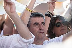 Diada Nacional 2016: manifestació a Salt Jordi Viñas, batlle de Salt (AMI) durant El Batec de Salt