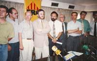 Aquella primera ERC independentista Catalunya Lliure s'integra a ERC. Roda de premsa a Barcelona. David Ricart, Xavier Vendrell, Jordi Vera, Àngel Colom,  Carod-Rovira, Marc-Aureli Vila, Josep Aixalà, Joan Ridao i Xavier Bosch (1991).