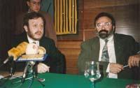 Aquella primera ERC independentista Colom, en una roda de premsa amb Carod-Rovira, el 1992.