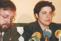 Aquella primera ERC independentista Àngel Colom i PIlar Rahola, en roda de premsa.
