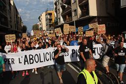 Manifestació contra el «turisme de borratxera» a la Barceloneta