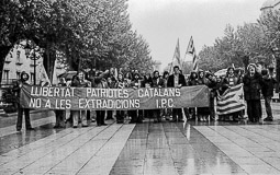 Ocupació de la duana del Portús contra l'extradició de Viusà, 1979 Pancarta d'IPC a la manifestació de Figueres.