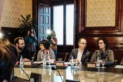 Les cares del dia després: el no de la CUP a Mas.  Benet Salellas, Anna Gabriel, Jordi Turull i Marta Rovira, a la Junta de Portaveus. | Jose M. Gutiérrez