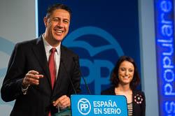Les cares del dia després: el no de la CUP a Mas.  Xavier Garcia Albiol i Andrea Levy, a Madrid, durant la roda de premsa de valoració del \