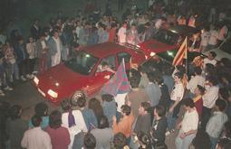 Celebració de la victòria del Barça a la final de la Copa d'Europa de Wembley  Celebració a la cruïlla del carrer de Verdaguer i la rambla.