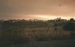 L'incendi de Sant Feliu Sasserra des del parc de bombers de Prats