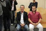 Josep Anglada, una vida accidentada, en imatges 17/10/2011. Anglada i el regidor de PxC Fuentes, al jutjat penal de Manresa. Foto: Laura Busquets.