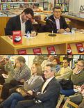 Josep Anglada, una vida accidentada, en imatges 28/10/2011. Anglada i Marta Riera, a primera fila de la presentació a Vic del llibre de Xavier Rius-Sant  \