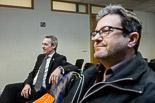 Josep Anglada, una vida accidentada, en imatges 25/02/2014. Josep Anglada i Joan Carles Fuentes, en ple creuament de denúncies i acusacions, al jutjat de Vic. Foto: Adrià Costa.