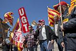 Protesta d'UGT i CCOO en defensa dels convenis col·lectius