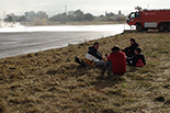 Simulacre d'accident a l'Aeroport de Reus Imatges del simulacre d'AENA a l'Aeroport de Reus. Els voluntaris «ferits» esperant atenció mèdica.