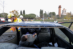 Simulacre d'accident a l'Aeroport de Sabadell