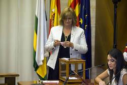 Ple de constitució de l'Ajuntament de Sabadell Marisol Martínez votant.