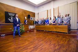 Ple de constitució de l'Ajuntament de Sabadell Himne nacional.
